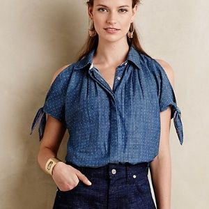 ANTHROPOLOGIE Split Shoulder Polka Dot ChambrayTop